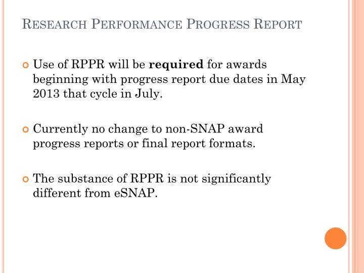 PPT - RPPR Research Performance Progress Report PowerPoint