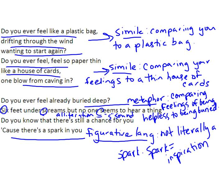 PPT - Quoting poetry or song lyrics ·Put a slash mark  space