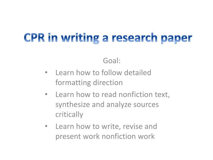 PPT - CPR in writing a research paper PowerPoint Presentation - ID