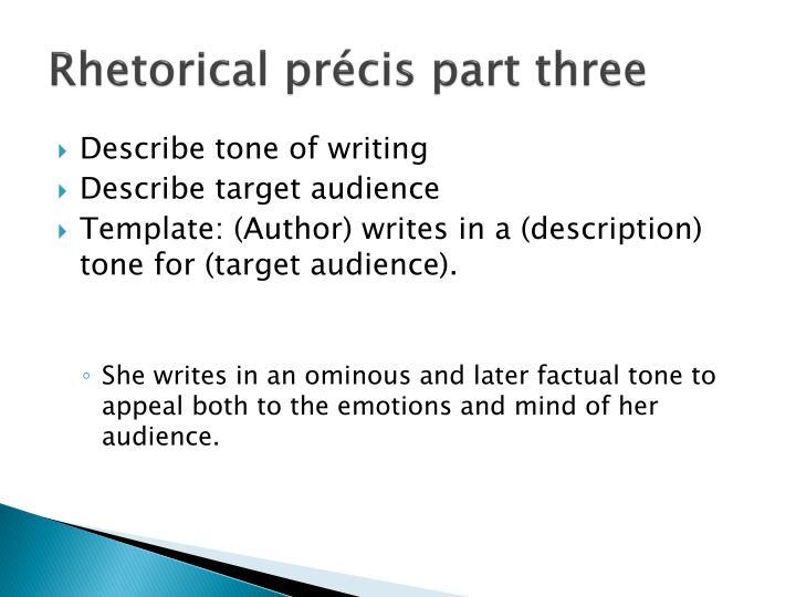 PPT - Rhetorical analysis The rhetorical précis Foundation for an - rhetorical precis template