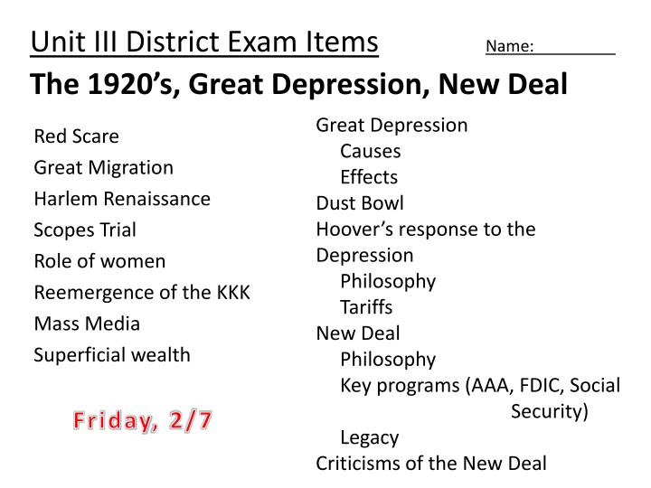 PPT - Unit III District Exam Items Name The 1920\u0027s, Great