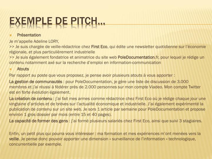 modele de pitch pour presentation sur cv
