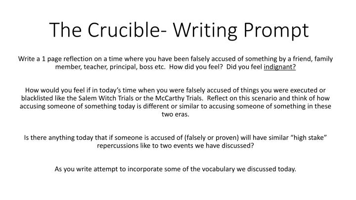 PPT - The Crucible- Writing Prompt PowerPoint Presentation - ID1891777
