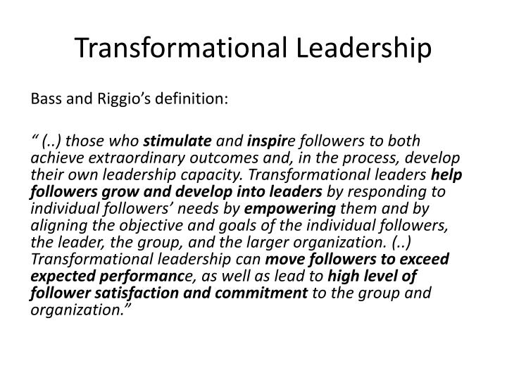 PPT - Chapter 4 Leadership PowerPoint Presentation - ID1909956 - transformational leadership definition