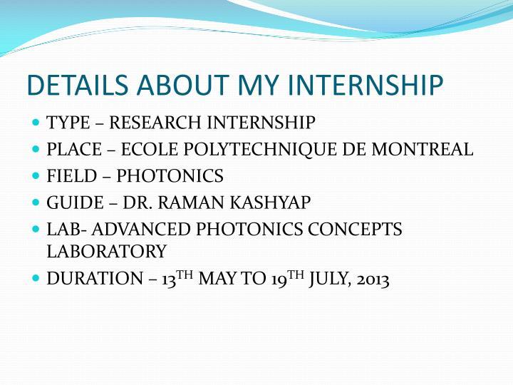 PPT - INTERNSHIP PRESENTATION PowerPoint Presentation - ID1934185