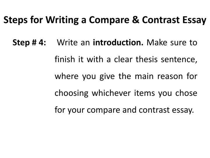 thesis example for compare and contrast essay comparison contrast