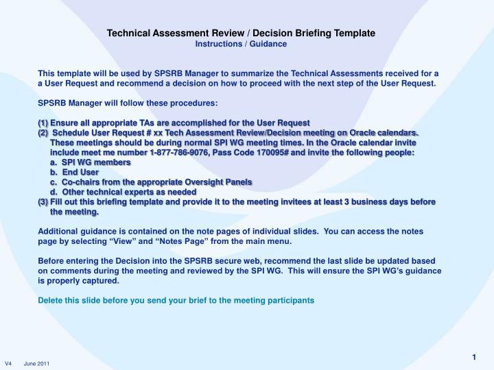 PPT - Technical Assessment Review / Decision Briefing Template - technical assessment template