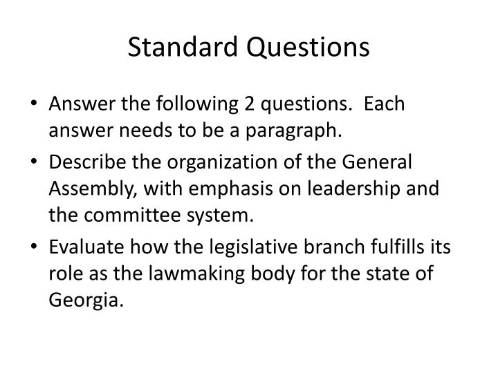 PPT - Standard Questions PowerPoint Presentation - ID2156377