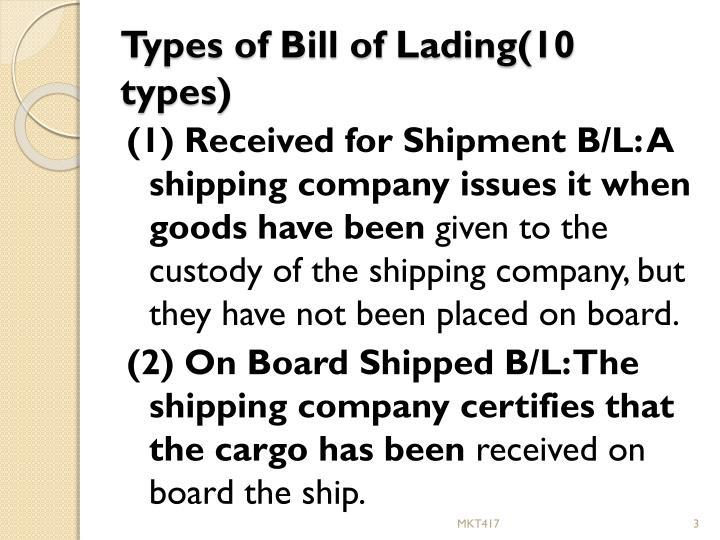 PPT - (v) Bill of Lading PowerPoint Presentation - ID2164488