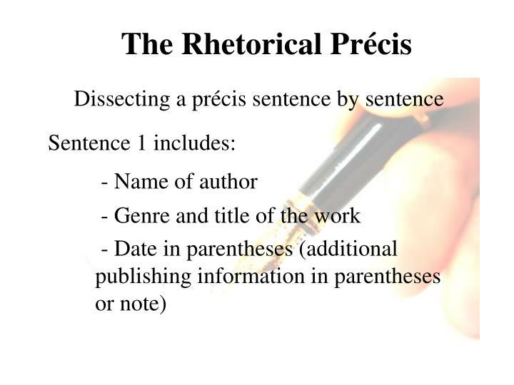 PPT - The Rhetorical Précis PowerPoint Presentation - ID2221270 - rhetorical precis template