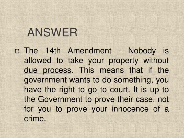 Amazing 14th Amendment And Due Process Clause Application To Bill Of ...