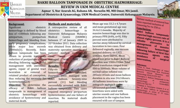 PPT - BAKRI BALLOON TAMPONADE IN OBSTETRIC HAEMORRHAGE REVIEW IN