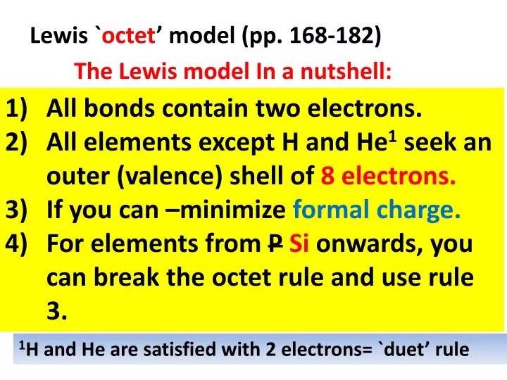 PPT - Lewis ` octet \u0027 model (pp 168-182) PowerPoint Presentation