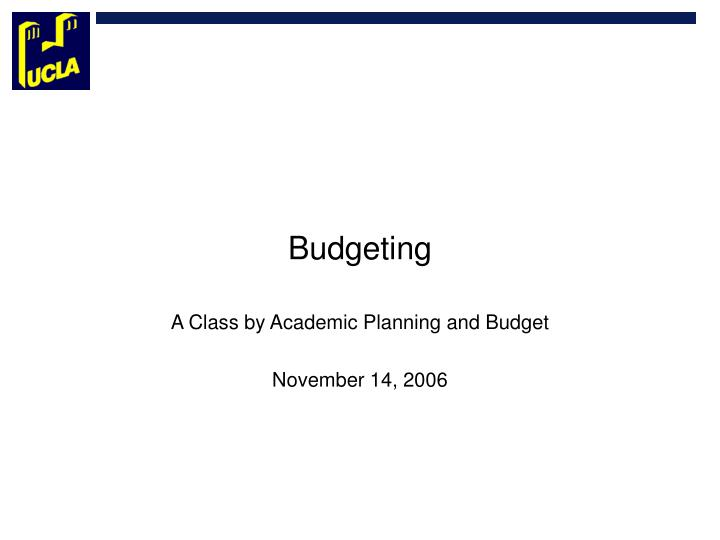 PPT - Budgeting PowerPoint Presentation - ID2414999