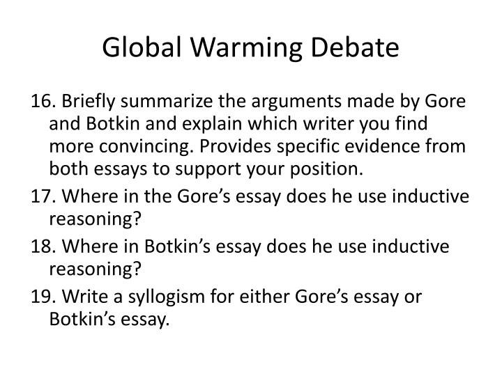 Botkin and gore argument on global warming essay Term paper Sample