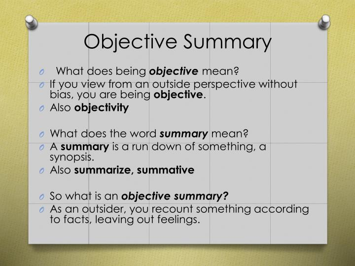 PPT - Objective Summary PowerPoint Presentation - ID2509792