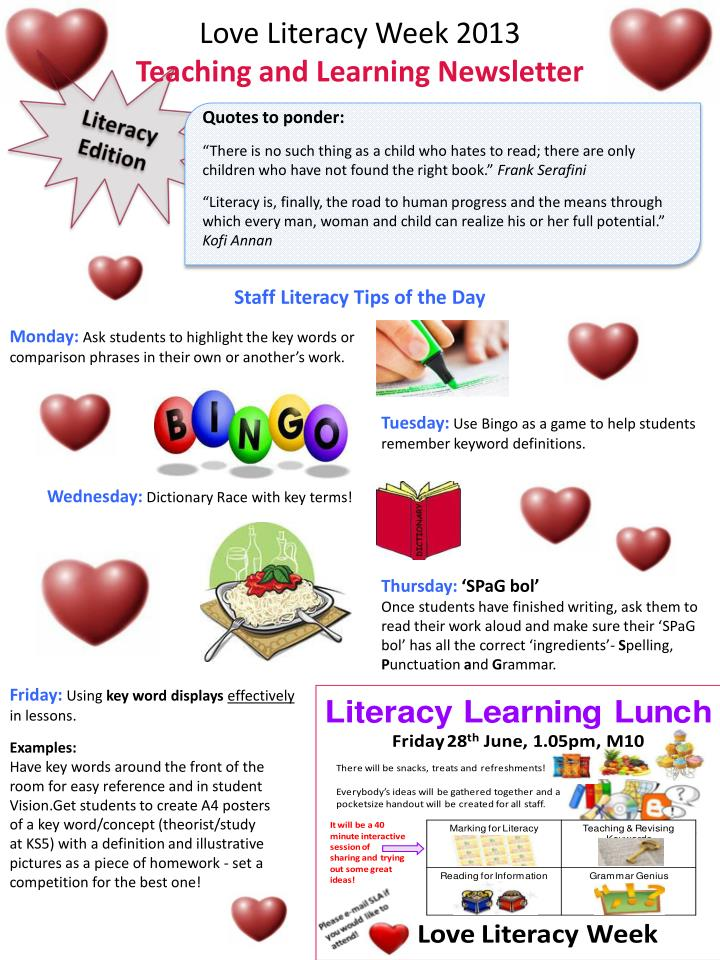 PPT - Love Literacy Week 2013 Teaching and Learning Newsletter