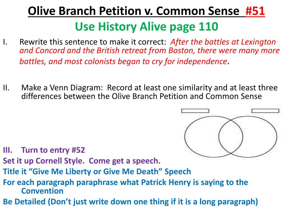 olive branch petition and common sense venn diagram