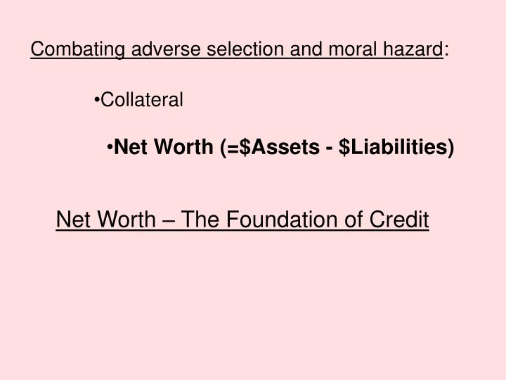 PPT - Combating adverse selection and moral hazard  PowerPoint