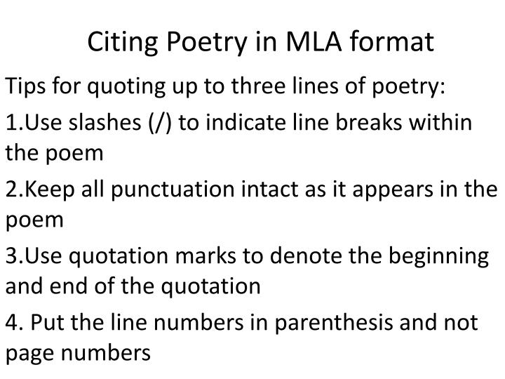 PPT - Citing Poetry in MLA format PowerPoint Presentation - ID2536971