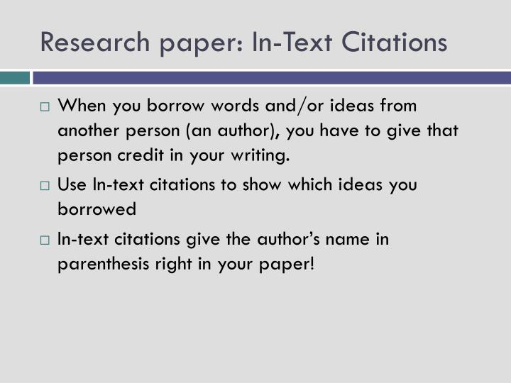 PPT - Research paper In-Text Citations PowerPoint Presentation - ID