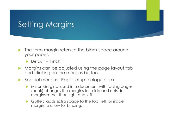 PPT - 61 Formatting Documents margins, columns, page breaks