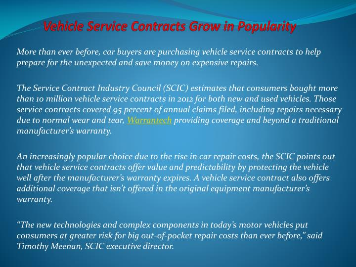 PPT - Vehicle Service Contracts Grow in Popularity PowerPoint