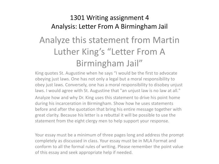 PPT - 1301 Writing assignment 4 Analysis Letter From A Birmingham