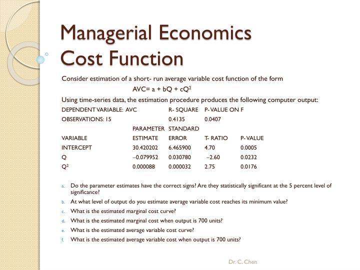 PPT - Managerial Economics Cost Function PowerPoint Presentation