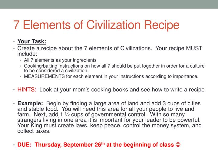 PPT - 7 Elements of Civilization PowerPoint Presentation - ID2824010
