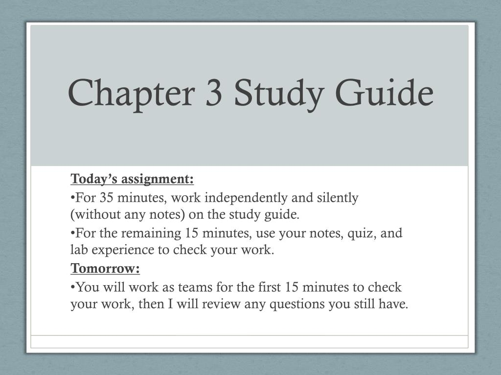 Study Guide 3 Ppt Chapter 3 Study Guide Powerpoint Presentation Id 2847975