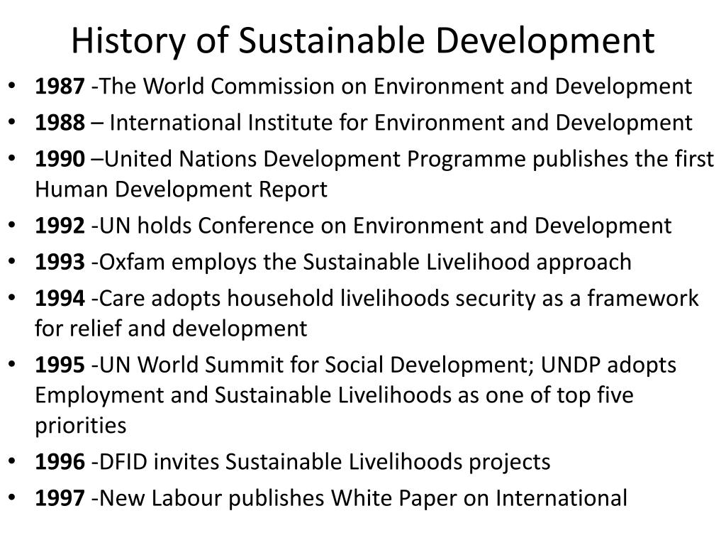 Development History Ppt History Of Sustainable Development Powerpoint Presentation