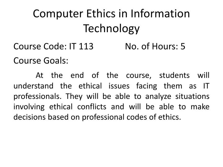 PPT - Computer Ethics in Information Technology PowerPoint