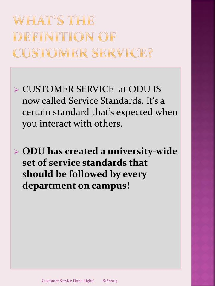 PPT - CUSTOMER SERVICE DONE RIGHT! PowerPoint Presentation - ID2916094