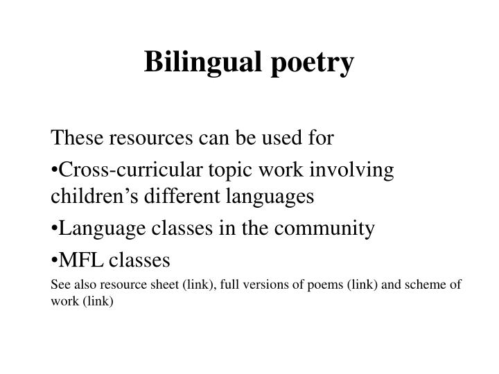 PPT - Bilingual poetry PowerPoint Presentation - ID2916965