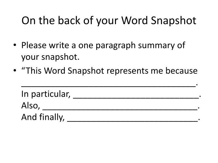 PPT - Word Snapshot PowerPoint Presentation - ID2930845