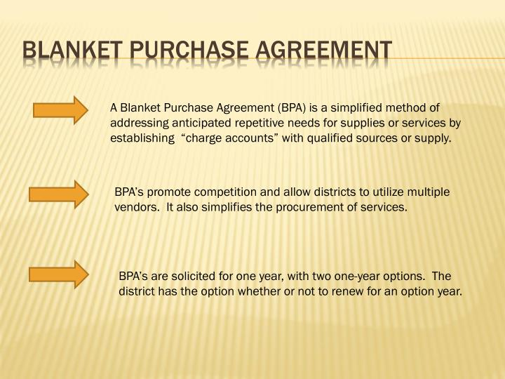 PPT - Blanket Purchase Agreement PowerPoint Presentation - ID2944182