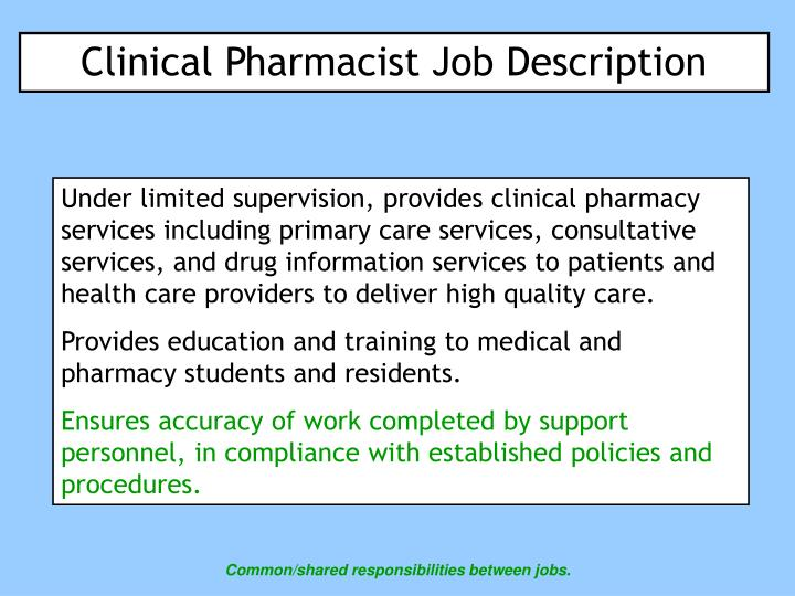 PPT - Clinical Pharmacist Job Description PowerPoint Presentation - pharmacist job description