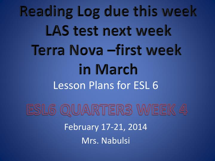PPT - Lesson Plans for ESL 6 PowerPoint Presentation - ID3056044 - esl powerpoint lesson