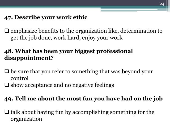 describe your work ethics - Engneeuforic