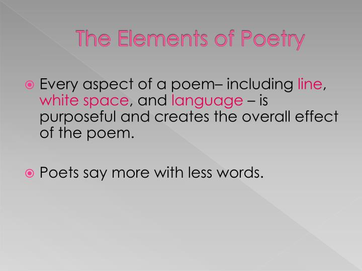 PPT - The Elements of Poetry PowerPoint Presentation - ID3101857