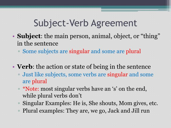 PPT - Subject-Verb Agreement PowerPoint Presentation - ID3114947