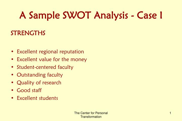 PPT - A Sample SWOT Analysis - Case I PowerPoint Presentation - ID