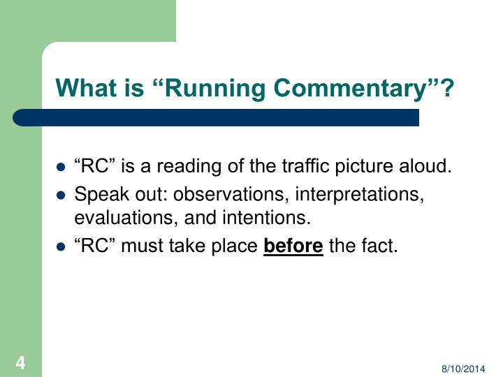 PPT - \u201cRunning Commentary\u201d Instruction PowerPoint Presentation - ID