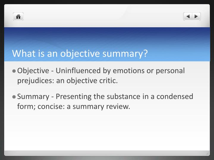 PPT - Writing an Modified Objective Summary PowerPoint Presentation - what is an objective summary