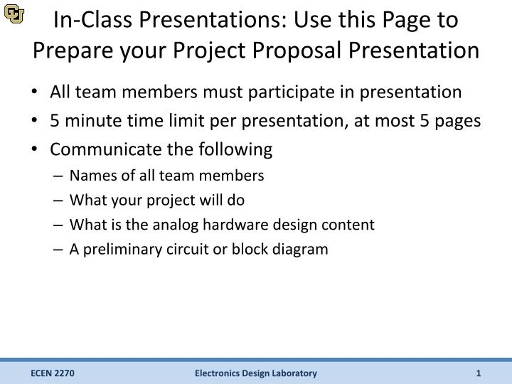 PPT - In-Class Presentations Use this Page to Prepare your Project
