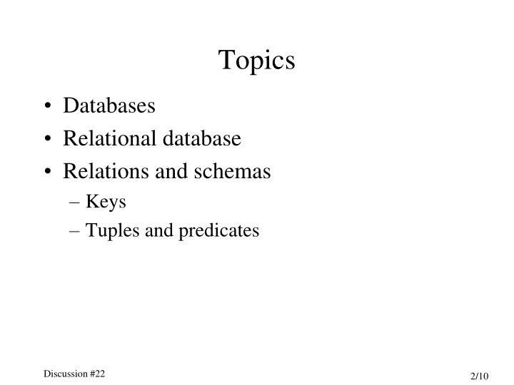 PPT - Discussion #22 Relational Data Model PowerPoint Presentation