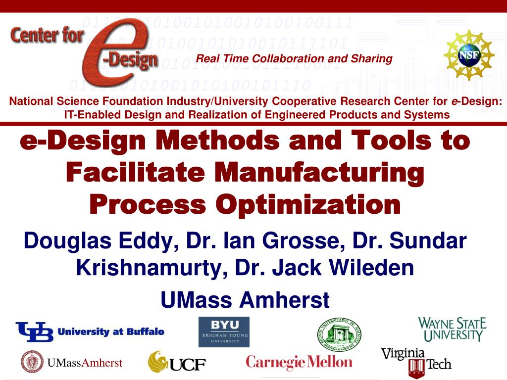 Manufacturing Methods Ppt E Design Methods And Tools To Facilitate Manufacturing