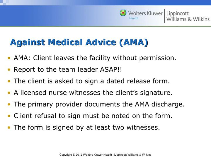 PPT - Chapter 45 Admission, Transfer, and Discharge PowerPoint - against medical advice form