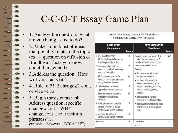 PPT - C-C-O-T Essay Game Plan PowerPoint Presentation - ID3754871